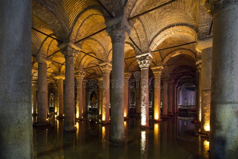 地下大教堂储水池,伊斯坦布尔,土耳其 图库摄影