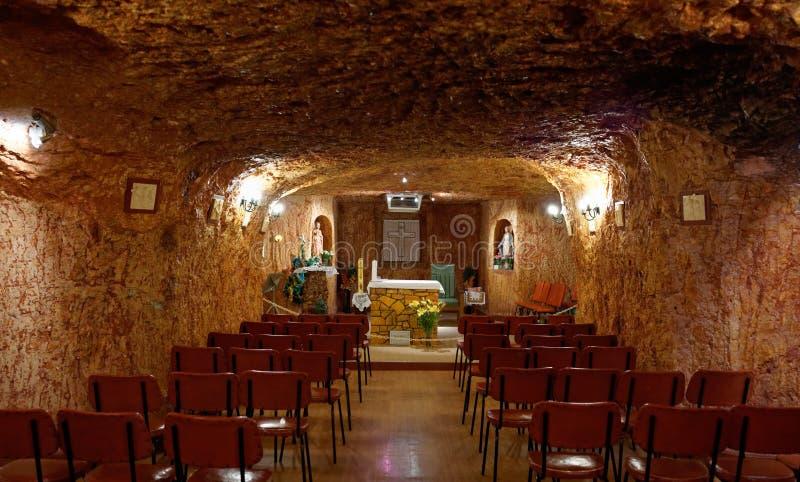 地下天主教会在Coober Pedy 库存图片