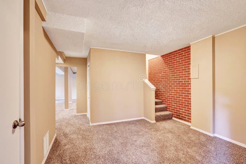 地下室与地毯地板和砖墙的走廊内部 免版税库存照片