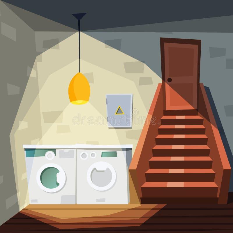 地下室 动画片有地下室的房子室与洗涤物洗衣店机器楼梯仓库内部传染媒介 向量例证