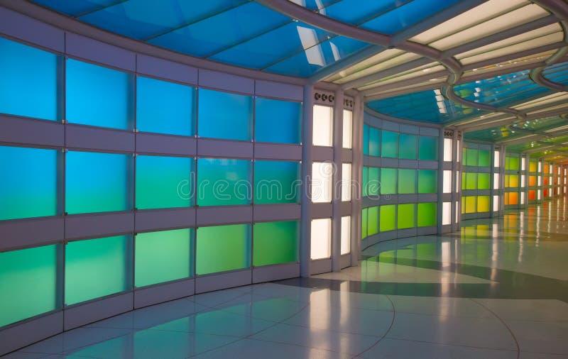 地下段落在芝加哥奥黑尔机场 图库摄影