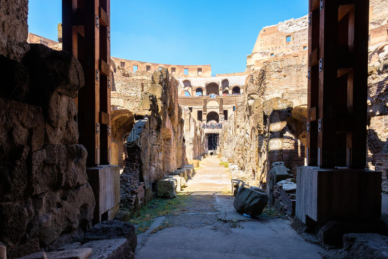 地下水平在罗马斗兽场在罗马 免版税图库摄影