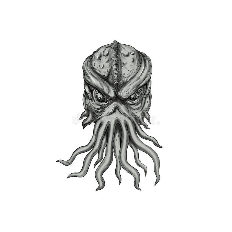 地下海怪头纹身花刺 皇族释放例证