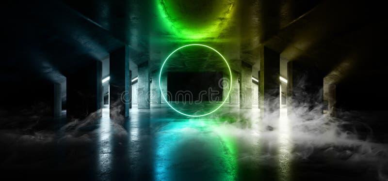 地下烟圈子焕发科学幻想小说氖现代未来派充满活力的焕发青绿的激光展示阶段轨道道路入口门 皇族释放例证