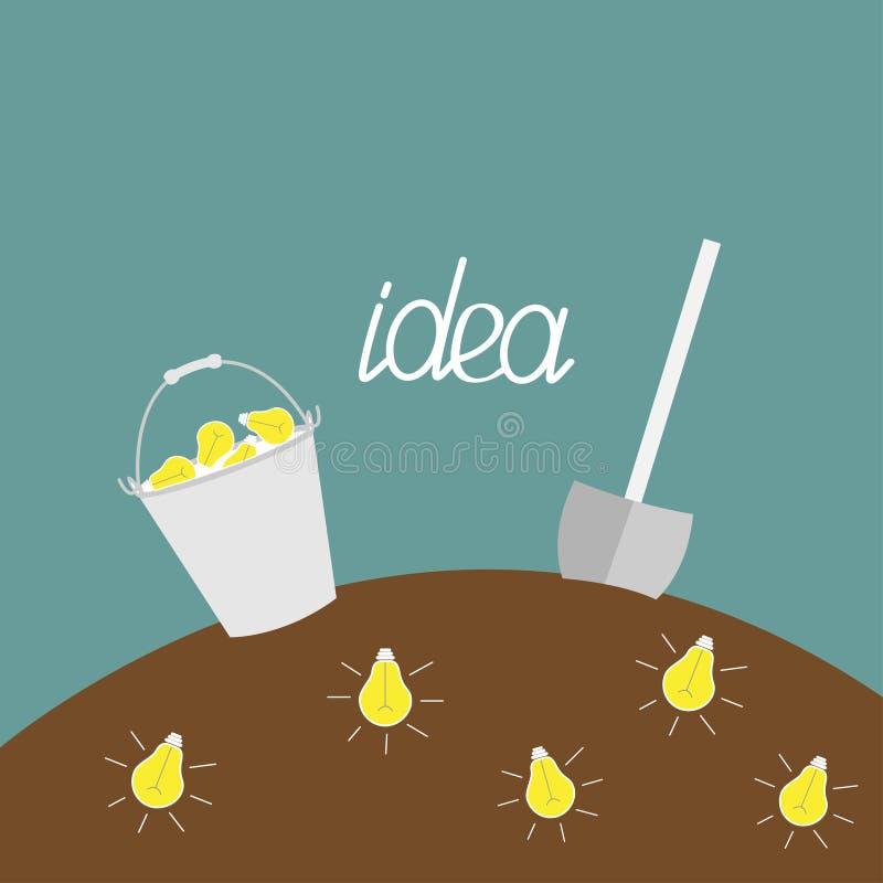 地下电灯泡。铁锹和桶。开掘想法概念。 向量例证