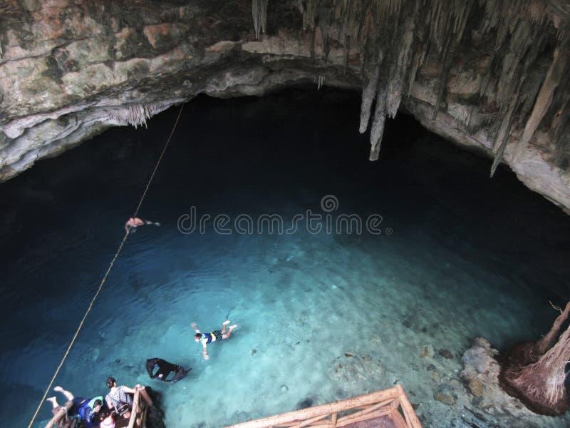 地下Cenote在尤加坦墨西哥 免版税图库摄影