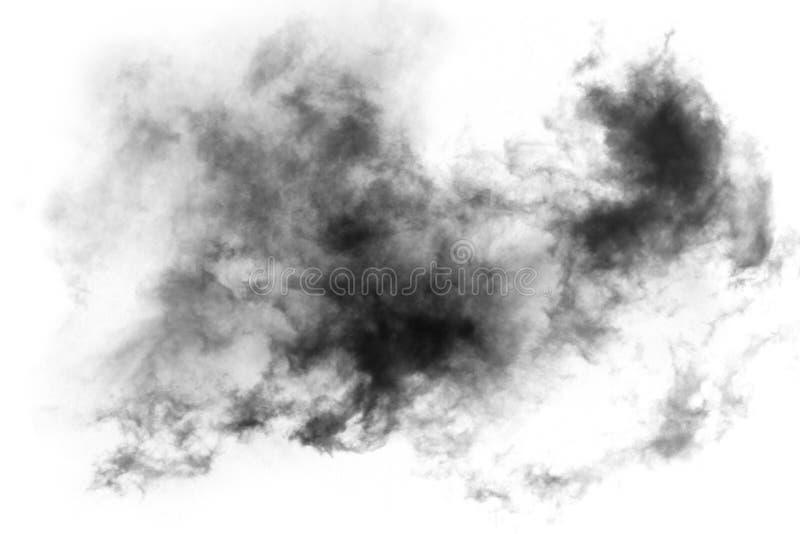 织地不很细烟,抽象黑色,隔绝在白色背景 免版税图库摄影