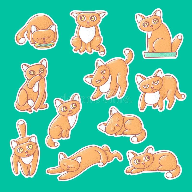 织地不很细颜色传染媒介套逗人喜爱的情感姜小猫例证贴纸  猫的面孔反射不同的情感 皇族释放例证