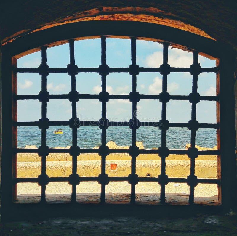 地中海从Qaitbay城堡  免版税库存照片