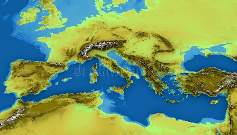 地中海和欧洲的地图 皇族释放例证