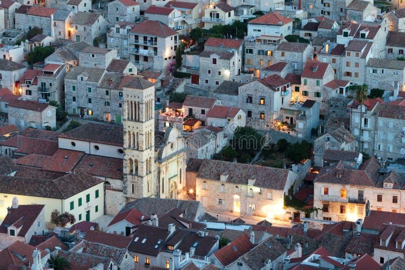 地中海城镇在晚上 免版税图库摄影