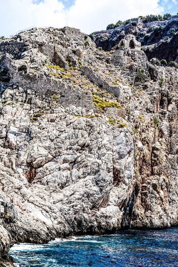 地中海岩石和海洋在土耳其 免版税图库摄影