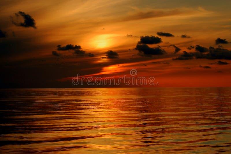 地中海日落,不可思议的片刻 图库摄影