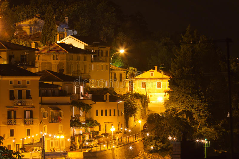 地中海晚上老城镇 免版税库存图片