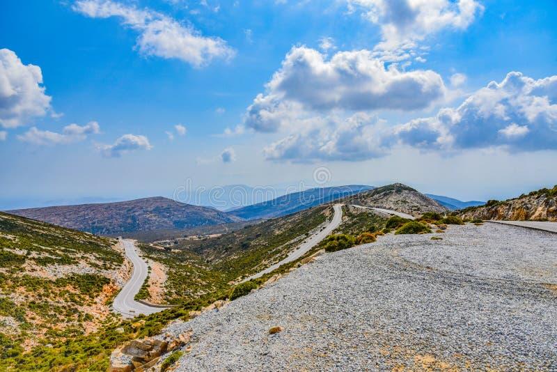 地中海海岛纳克索斯的风景的出色的意见在希腊 库存照片