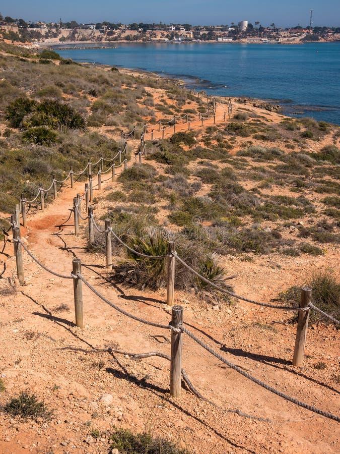 地中海海岸人行道在西班牙 免版税库存照片