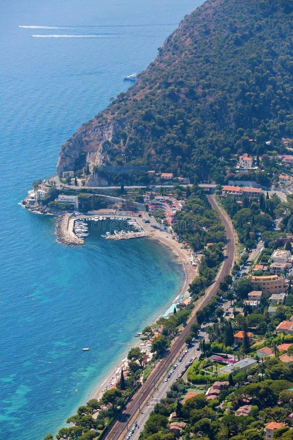 地中海海岸的鸟瞰图在Eze的 库存照片
