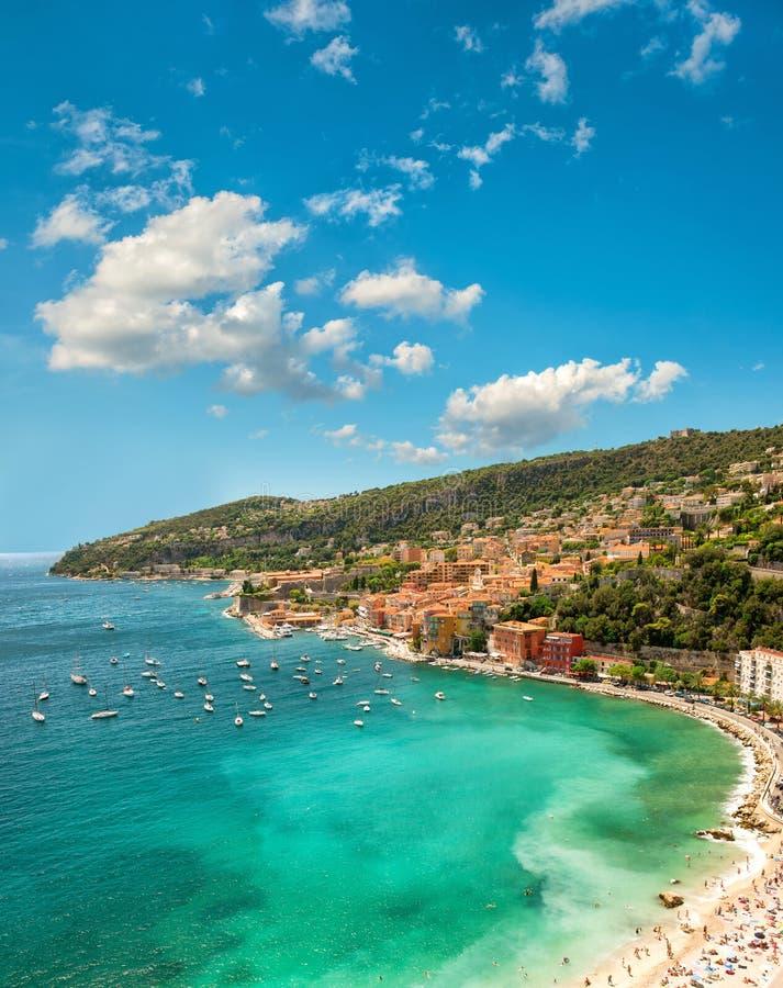 地中海海湾 Villefranche,法国海滨,法国 库存照片