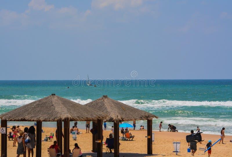 地中海海滩亚实基伦在亚实基伦,以色列 库存图片