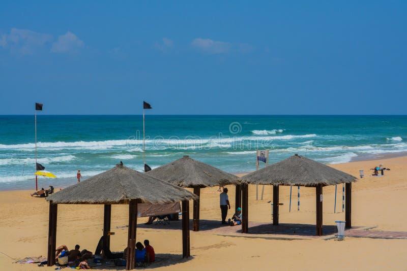 地中海海滩亚实基伦在亚实基伦,以色列 免版税库存图片