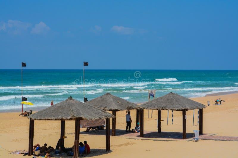 地中海海滩亚实基伦在亚实基伦,以色列 库存照片