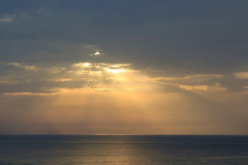地中海海9月的美好的日落,突尼斯 图库摄影