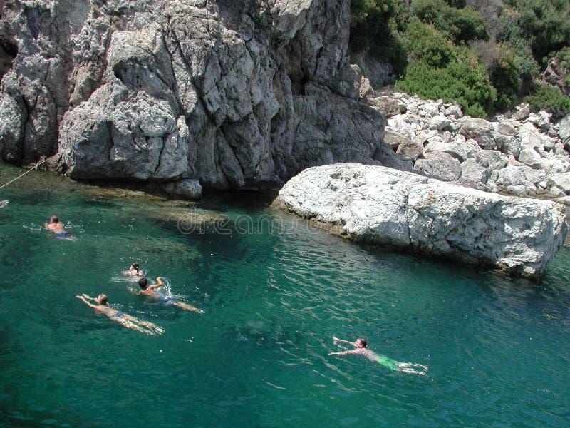 地中海游泳 免版税库存照片