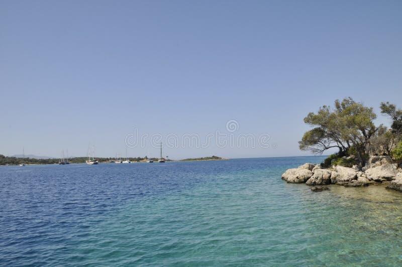 地中海的海岸线 免版税库存照片