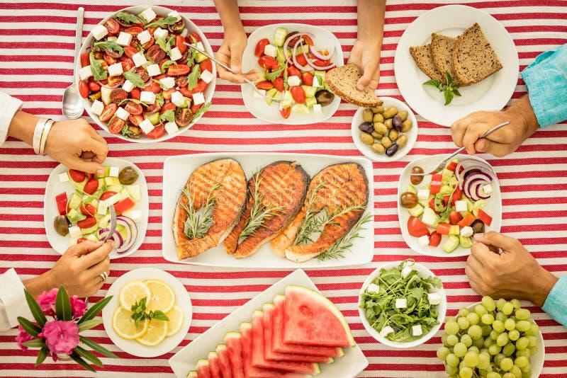 地中海的饮食 概念吃健康 顶视图 库存图片