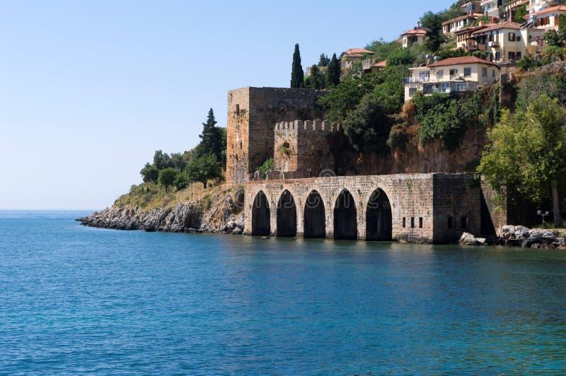 地中海alanyas的海岸线 库存图片