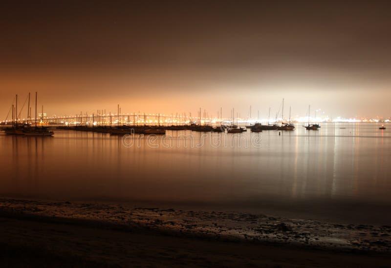 地亚哥海滨广场晚上圣 免版税库存照片