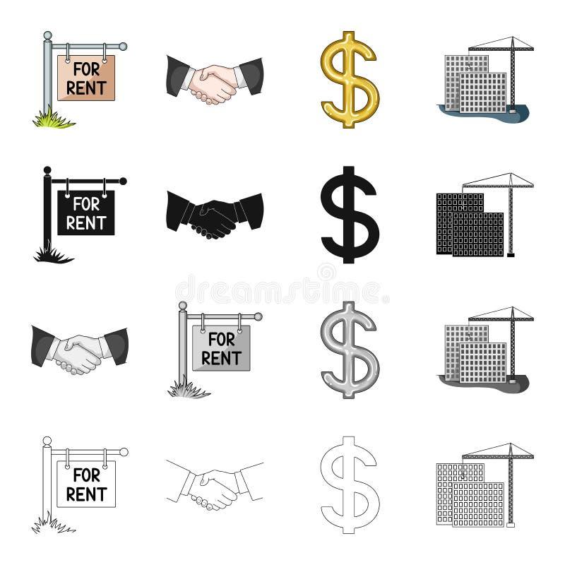 地产商、企业、居住和其他网象在动画片样式 购买,销售,办公室,在集合汇集的象 向量例证