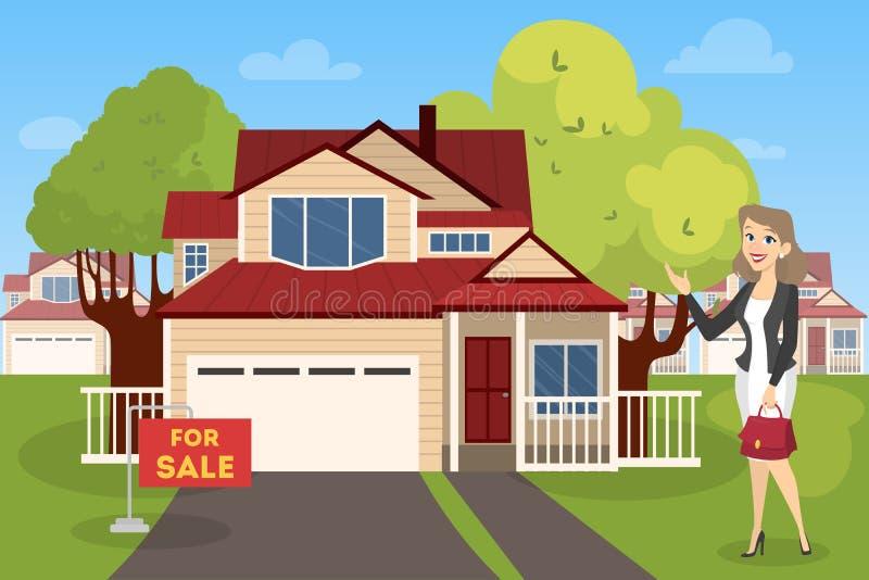 地产商或房地产开发商显示房子待售 向量例证