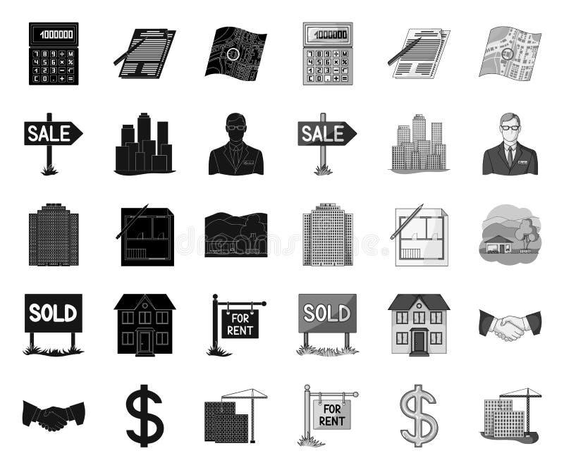 地产商,机构黑色 在集合收藏的单音象的设计 r 皇族释放例证