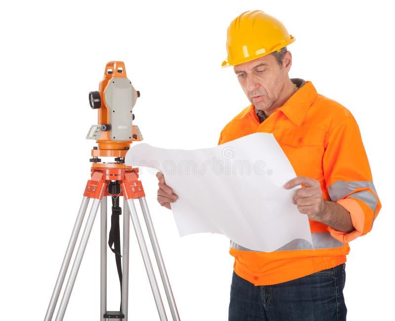 地产高级测量员经纬仪 免版税库存照片
