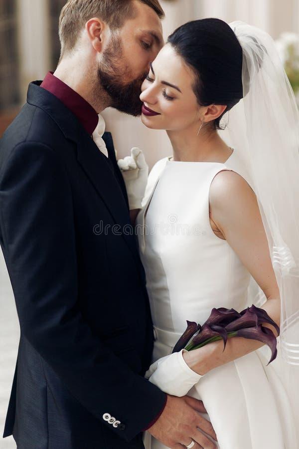 轻轻地亲吻backgroun的典雅的时髦的新郎华美的新娘 免版税库存图片