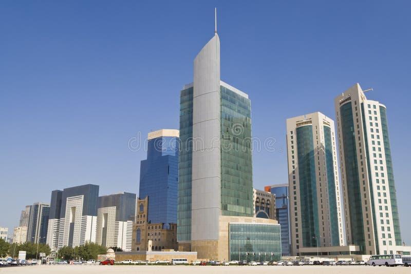 地区多哈财务卡塔尔地平线 免版税库存照片