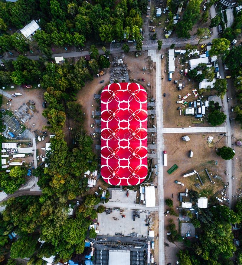 地区看法一个在Sziget节日的最大的阶段在布达佩斯 库存图片