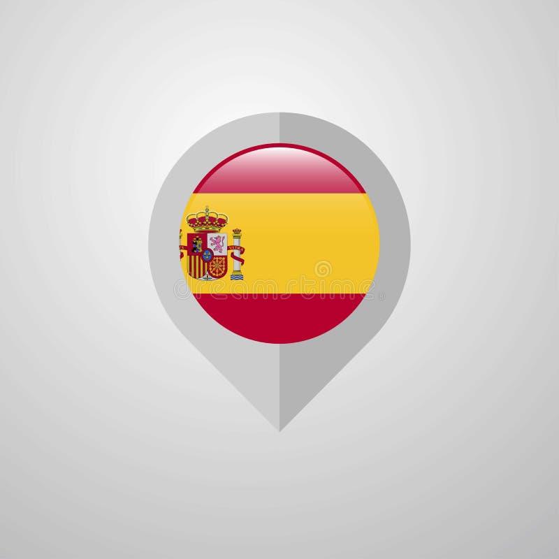 地图与西班牙旗子设计传染媒介的航海尖 库存例证