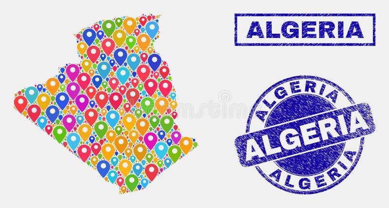 地图别住阿尔及利亚地图和被抓的邮票拼贴画  库存例证
