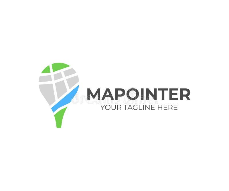 地图别针商标模板 地图标志尖传染媒介设计 皇族释放例证