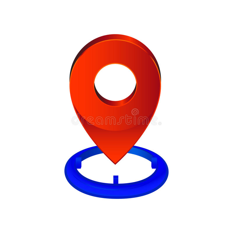 地图别针尖象 地点标志 向量例证