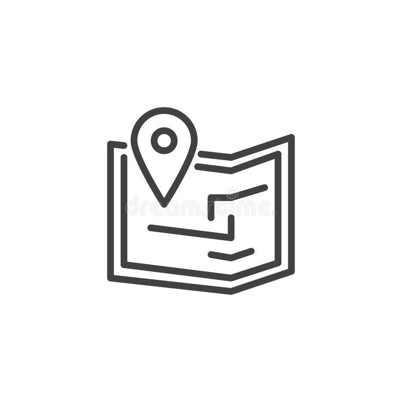 地图别针概述象 向量例证
