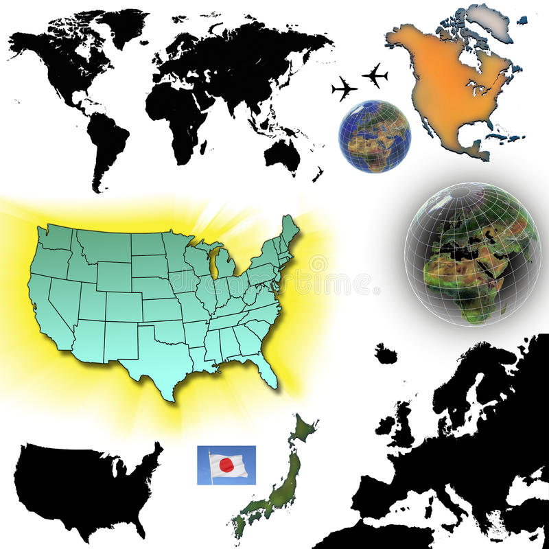 地图和地球-保险开关 库存例证