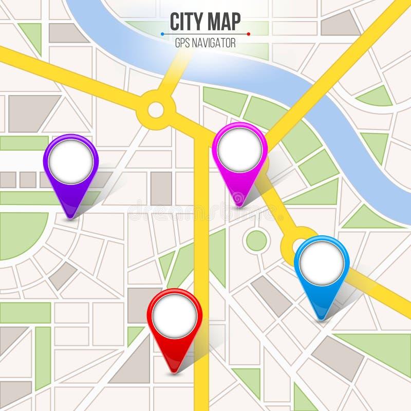 地图城市的创造性的传染媒介例证 与GPS别针标志和尖的街道路infographic航海 艺术设计 城市r 库存例证