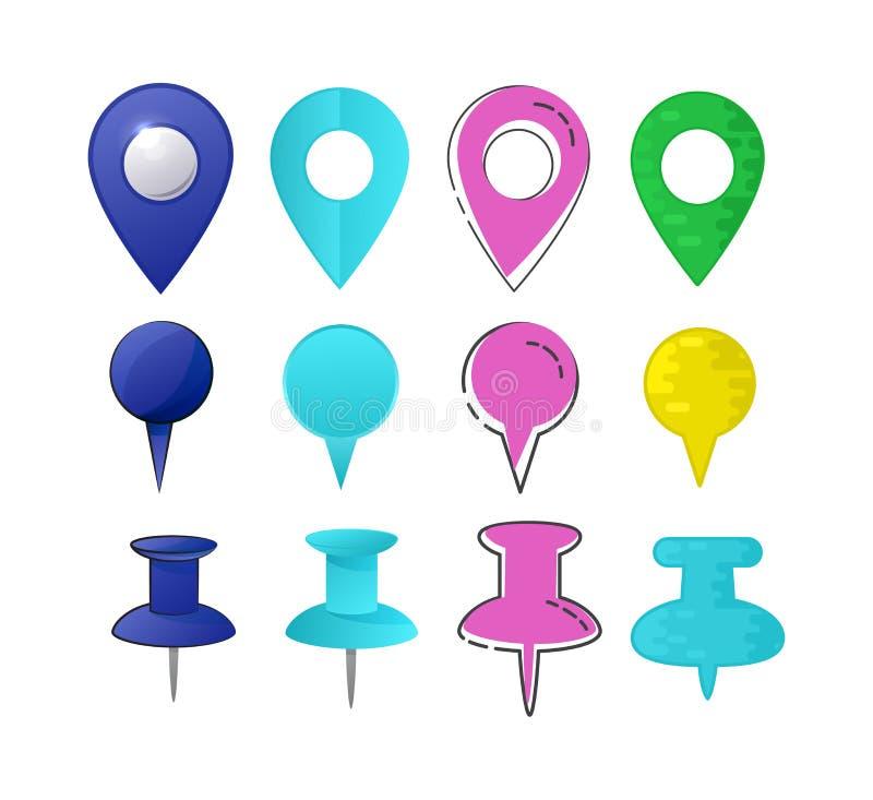 地图尖传染媒介地点别针标志标志航海象五颜六色的地方点设计例证套arrowheaded 库存例证