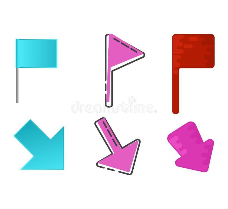地图尖传染媒介地点别针标志标志航海象五颜六色的地方点设计例证套arrowheaded 向量例证