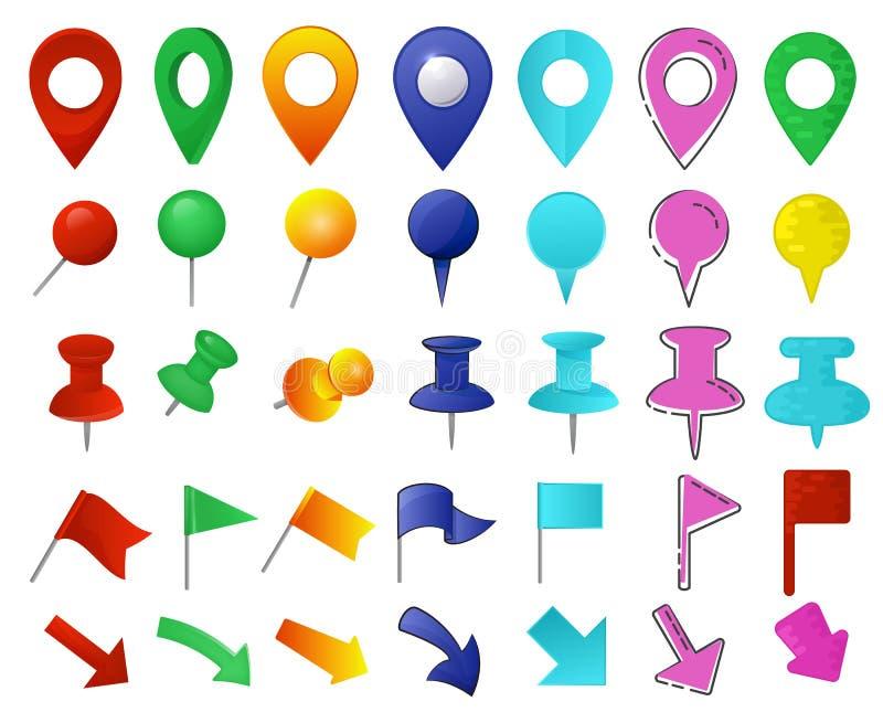 地图尖传染媒介地点别针标志标志航海象五颜六色的地方点设计例证套arrowheaded 皇族释放例证