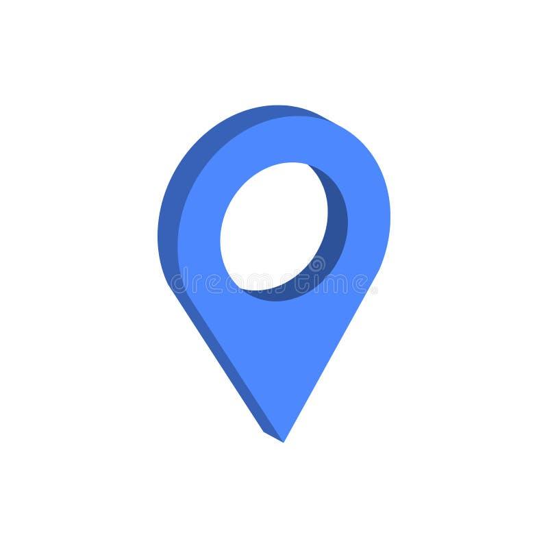 地图尖标志 平的等量象或商标 3D样式Pictog 皇族释放例证