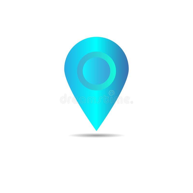 地图尖象传染媒介  GPS地点标志 平的设计猪圈 库存例证